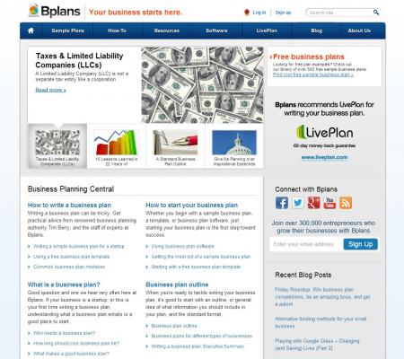 Startup website business plan
